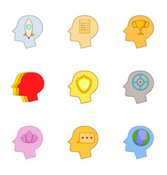 head thinking about games icons set cartoon style vector image