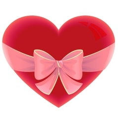 Heart tied ribbon Heart shape gift for valentines vector