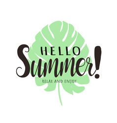 hello summer lettering typography tropical vector image