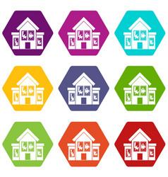 House with broken windows icon set color vector
