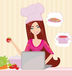 housewife looking in laptop during dinner vector image