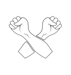 icon crossed hands clenched into fists on vector image