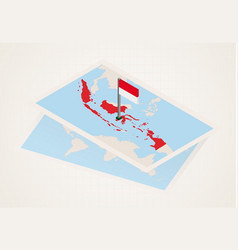 Indonesia selected on map with isometric flag of vector
