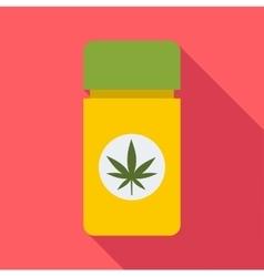 Jar pills marijuana icon flat style vector