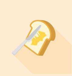 Knife spreading butter or margarine on toast bread vector