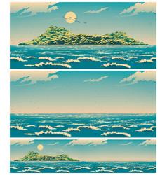 landscape open sea with island retro vector image