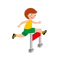 little kid in obstacle race vector image