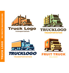 Logo set with truck and trailer vector