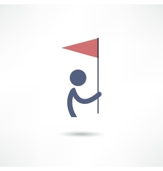 man with flag icon vector image