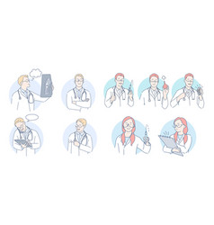 medicare healthcare doctors and therapist during vector image