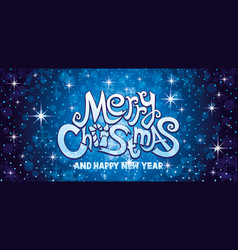 Merry christmas blue greeting card vector
