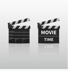 Movie clapperboard or film clapper isolated on vector
