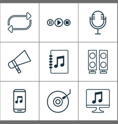 music icons set with megaphone microphone vector image