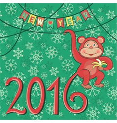 new year 2016 with monkey vector image