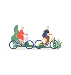 old couple on bikes elderly activity grandmother vector image