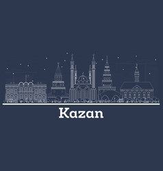 Outline kazan russia city skyline with white vector