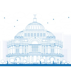 Outline The Fine Arts Palace vector