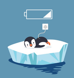 Penguin tired with battery vector