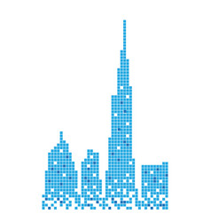 pixelated blue building of burj khalifa design vector image