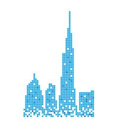 Pixelated blue building of burj khalifa design vector