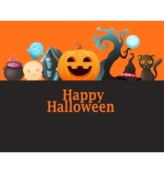 Poster Halloween with pumpkin vector image