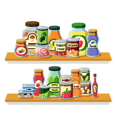 preserved food products in cans flat vector image