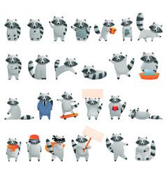 Raccoon icons set cartoon style vector