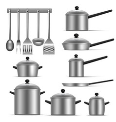 realistic detailed 3d kitchen utensils set vector image
