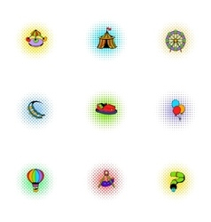 Rides icons set pop-art style vector