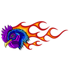 rooster hot chicken esport logo mascot template vector image