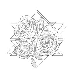 rose flowers in triangle geometrical shapes hand vector image