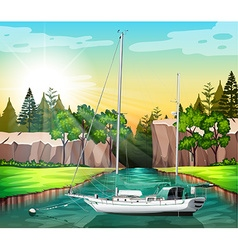 Sailboat floating on the canal vector