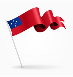 Samoan pin wavy flag vector