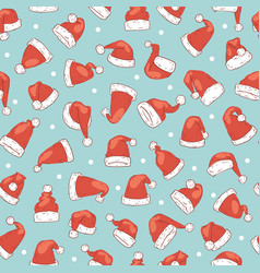 santa claus red hats seamless pattern vector image