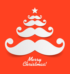 Santas mustache christmas tree vector