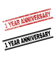 Scratched textured and clean 1 year anniversary vector