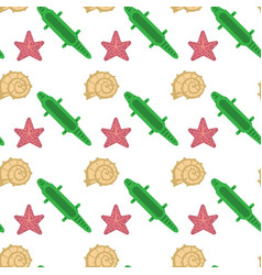 Sea shell star fish seamless pattern vacation vector