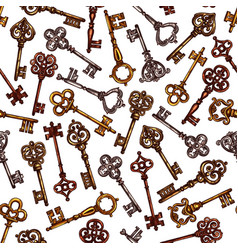 seamless pattern of sketch vintage keys vector image