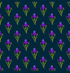 seamless pattern with iris on dark background vector image