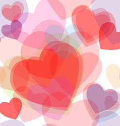 Seamless transparent multicolor hearts pattern vector image