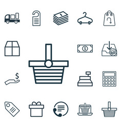 Set of 16 commerce icons includes till buck peg vector