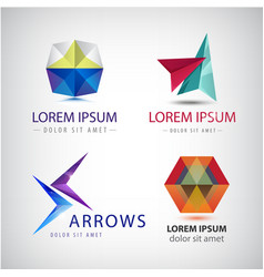 Set of abstract 3d colorful logos arrows vector
