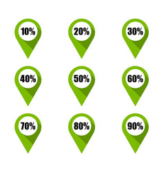 set of green map pins with different percentage vector image
