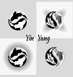 set pattern of yin yang koi fish vector image