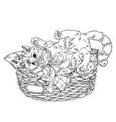 Sketch of playful cats Sleeping vector
