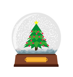 Snow globe christmas glass ball background winter vector