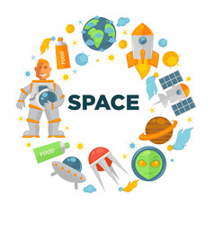 Space voyage promotional emblem in shape circle vector