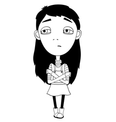 Sulky girl with braid and big eyes not smiling vector image