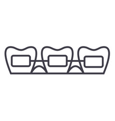tooth braces line icon sign vector image
