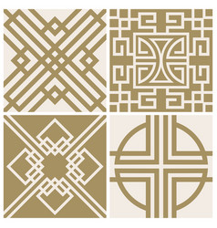 Traditional japan asian seamless patterns vector